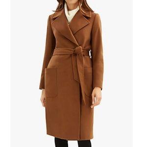 Ralph Ralph Lauren Brown Belted Wool Blend Coat M